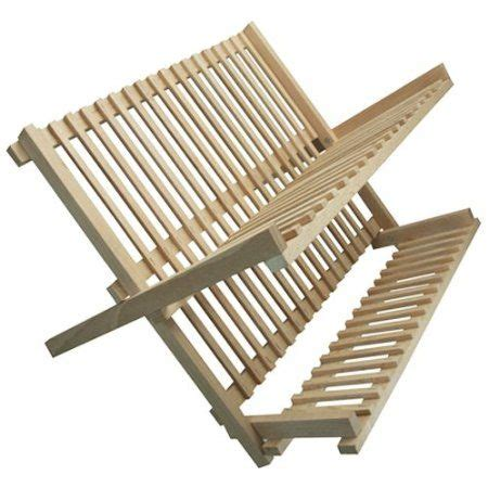 wood solid wood folding kitchen dish drainer natural amazoncouk kitchen home