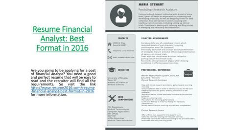 ppt resume financial analyst best format in 2016