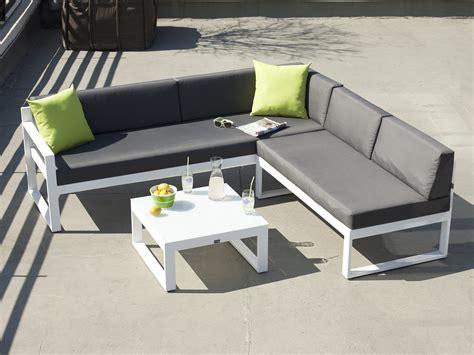 salon de jardin bas 5 places canap 233 d angle table basse en aluminium moderne