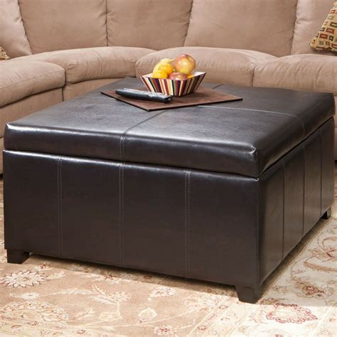 Using An Ottoman As A Coffee Table by Large Espresso Leather Storage Ottoman Coffee Table Ebay
