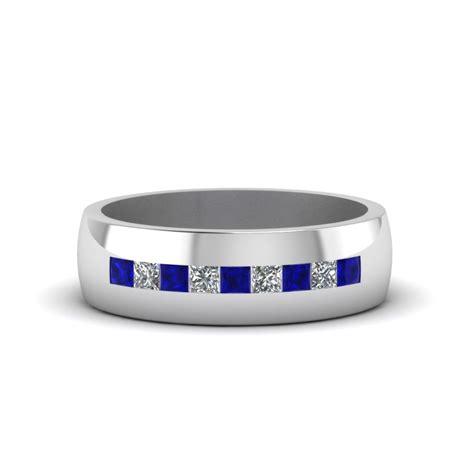 channel set princess cut diamond band  men  blue