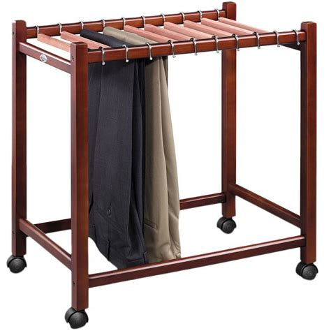 Wooden Rolling Pant Rack Trolley Closet Organizer Compact