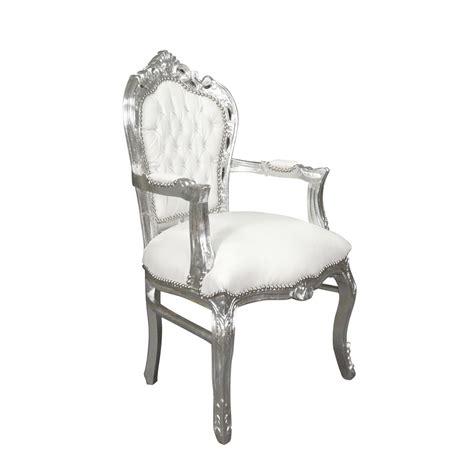 fauteuil baroque blanc et argent meuble baroque
