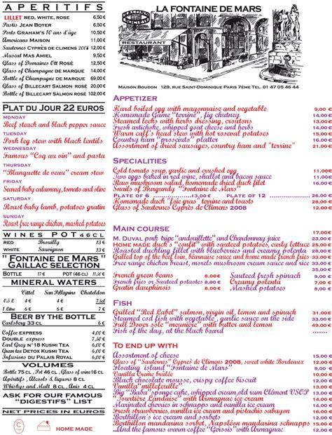 Menu Carte Restaurant Anglais by Menus Et Boissons La Fontaine De Mars Restaurant