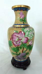 Vintage, Pair, Peony, Cloisonne, Vases