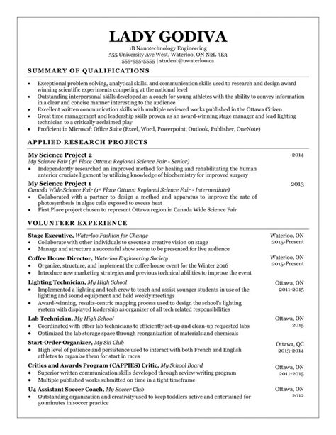 Resume Template by Resume Templates Waterloo Engineering Society