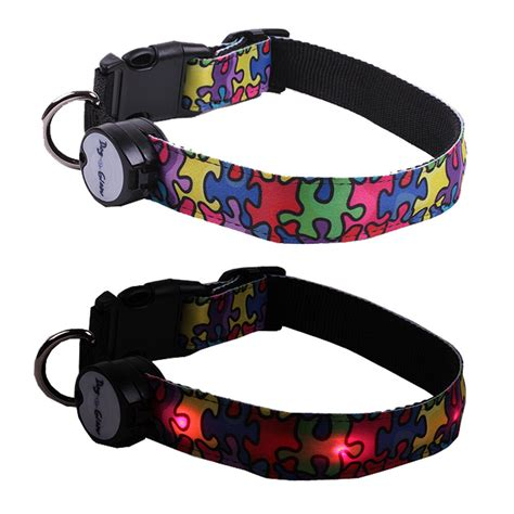 Lighted Collar by Autism Awareness Puzzle Lighted Led Pet Collar Steady