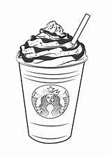 Starbucks Coloring Frappucino Drawingtutorials101 Via sketch template