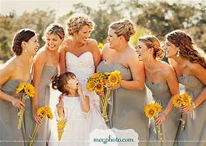 sunflowers and grey bridesmaids dresseslove this but With sunflower wedding bridesmaid dresses