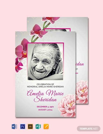 funeral memorial card template word psd