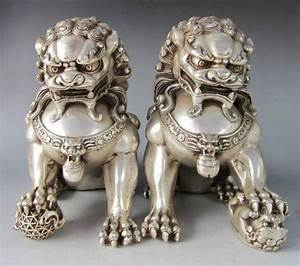 Chinese Silver Guardian Lion Foo Fu Dog Statue Pair RB