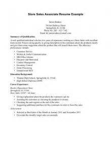 retail sales associate resume exle sles of resumes