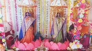 Gauri Ganpati Decoration @ home - YouTube