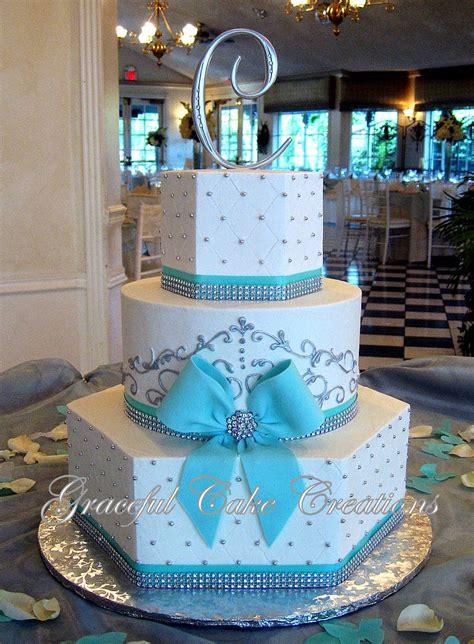 elegant white  tiffany blue wedding cake  bling