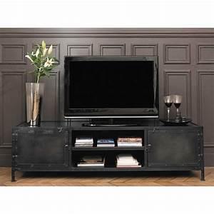 Meuble Tv Metal Noir : meuble tv indus en m tal noir meuble tv m tal noir et tv ~ Teatrodelosmanantiales.com Idées de Décoration