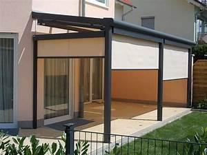 Kd uberdachung fur eine terrasse mit seitenteilen und for Feuerstelle garten mit milchglas balkon preise