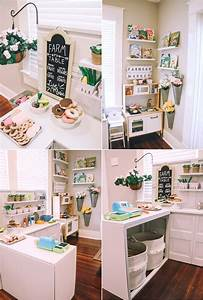 diy play kitchen pretend play area the blog box With what kind of paint to use on kitchen cabinets for metal flower wall art hobby lobby