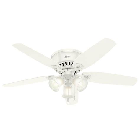 low profile white ceiling fan hunter builder low profile 52 in indoor snow white