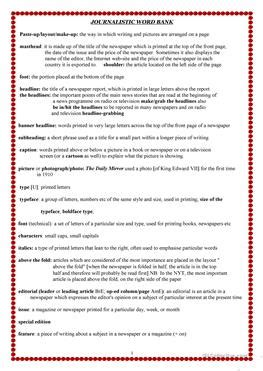 Journalism Vocabulary by 3 Free Esl Journalism Worksheets