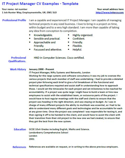 It Pm Resume by It Project Manager Cv Exle And Template Lettercv