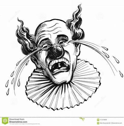Clown Crying Drawing Skriande Ink