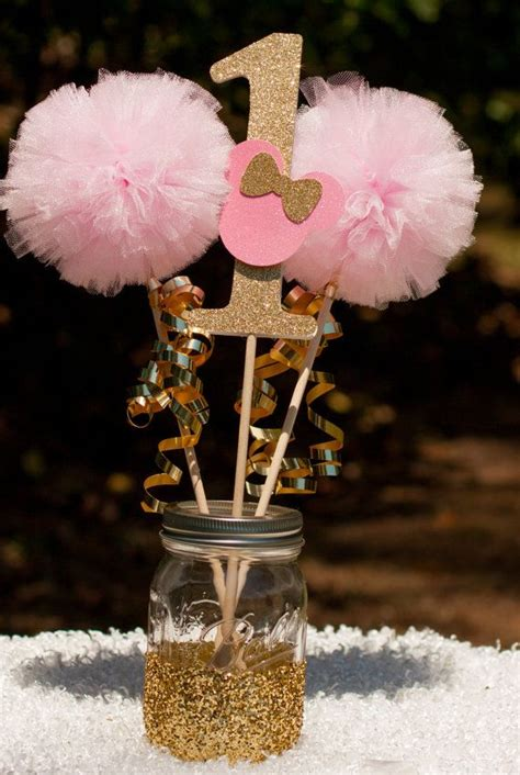 minnie mouse party pink  gold minnie centerpiece table