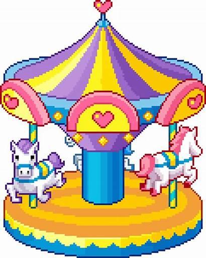 Pixel Carnival Horse Carousel Amusement Kawaii Ride
