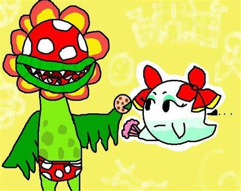 petey piranha giving lady bow  cookie nintendo fan art