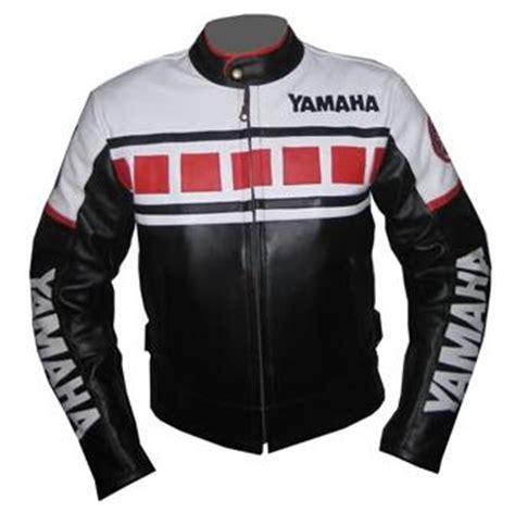 black  white color yamaha motorcycle leather jacket