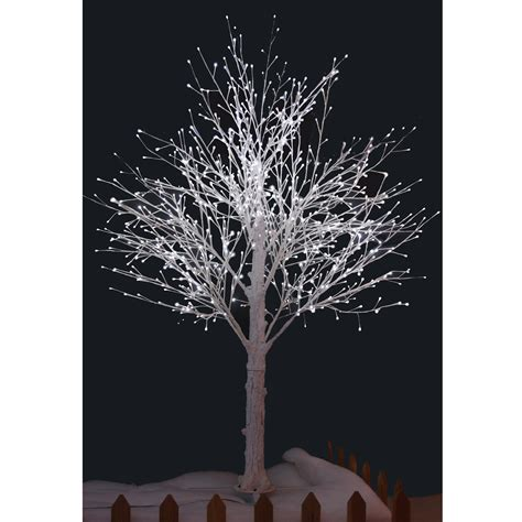210cm white snow decorated twig tree with white led lights
