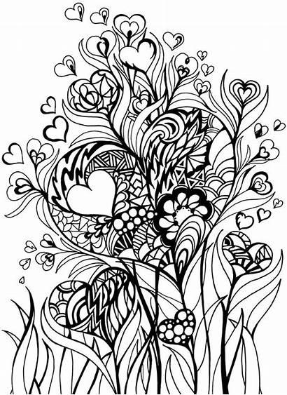 Coloring Zentangle Doodle Heart Dover Publications Hearts