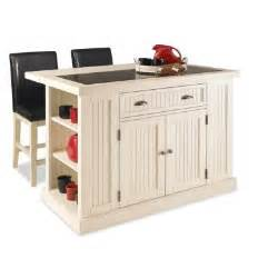 home styles nantucket kitchen island in distressed white with black granite inlay and two stools - Kitchen Islands At Home Depot