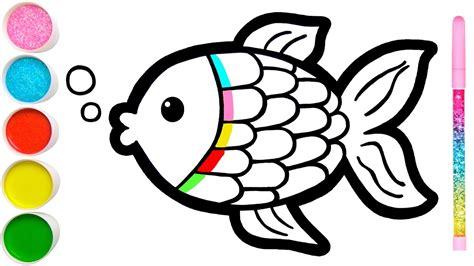 menggambar ikan dan mewarnai untuk anak balita