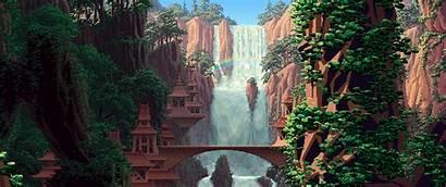 Wallpapers Pixel Landscape Ultrawide Pixelart Imgur Cave