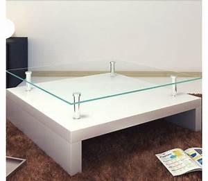 Table Basse Carrée Blanc Laqué : acheter table basse de salon carr e verre blanc laqu pas cher ~ Teatrodelosmanantiales.com Idées de Décoration