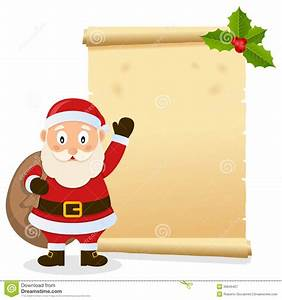 Christmas parchment with santa claus royalty free stock for Scroll letter from santa