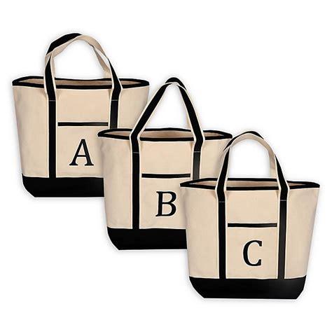 monogram embroidered block letter large canvas tote bag bed bath