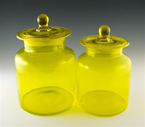 yellow kitchen canister set vintage kitchen canister set in lemon yellow retro art glass