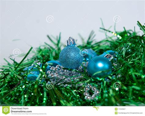 blue and green christmas decorations royalty free stock