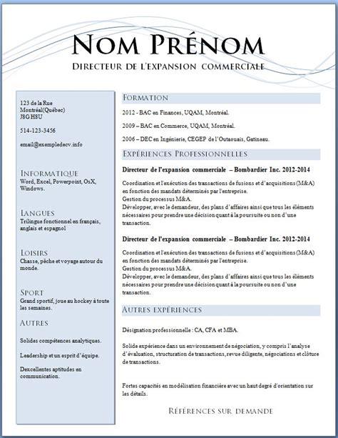 Les Exemples Des Cv by Mod 232 Les Et Exemples De Cv 621 224 627 Exemple De Cv Info