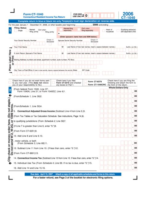 form ct 1040 connecticut resident income tax return