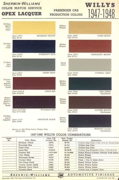 willys paint colors autos post