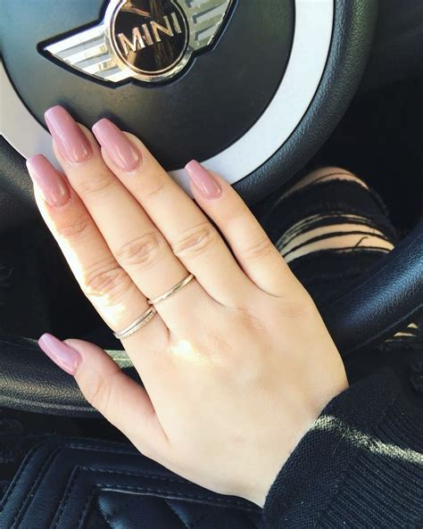 pink long brown coffin square nails acrylics mini ios