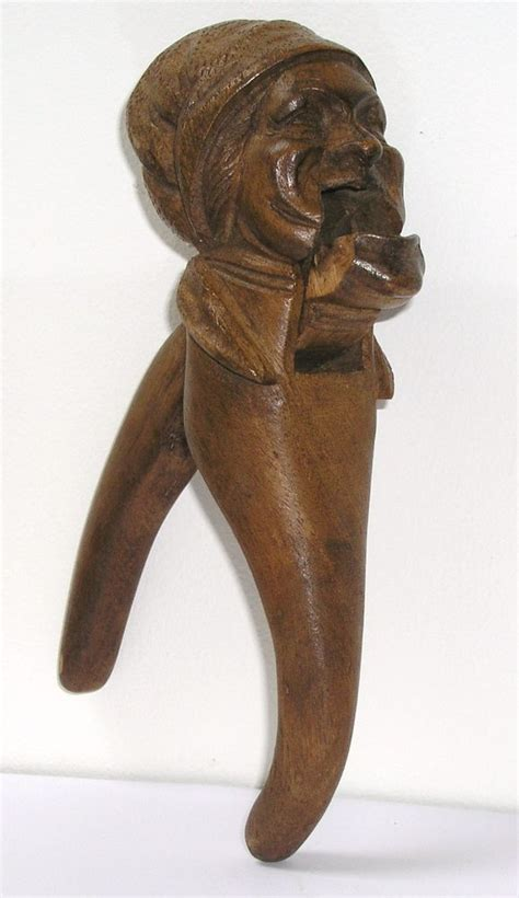 hand carved vintage wooden nutcracker  woman  head