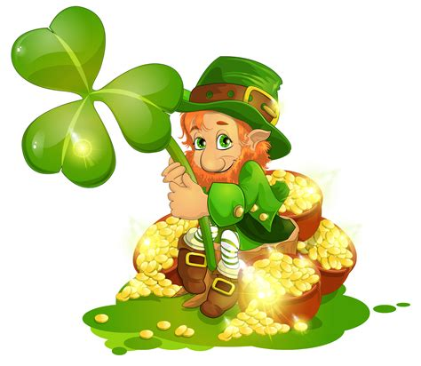 s day leprechaun with pot of gold and shamrock png clipart st pats