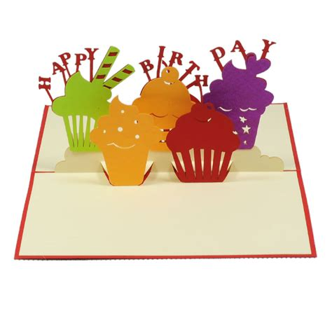 Birthday Pop Up Greeting Card birthday cupcakes pop up card 3d card manufacture charm