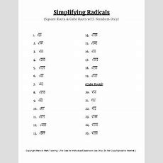Simplifying Radicals (square Roots & Cube Roots  Numbers Only) Tpt