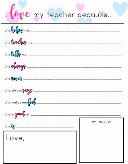 Teacher Printable Because Appreciation Gifts Notes Gift