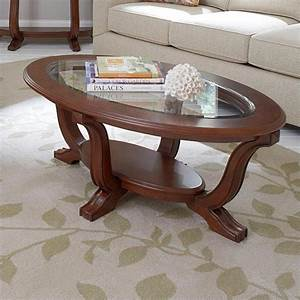 Features for Oval cherry wood coffee table
