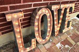 4 custom wedding letters love marquee signs rustic industrial With industrial marquee letters